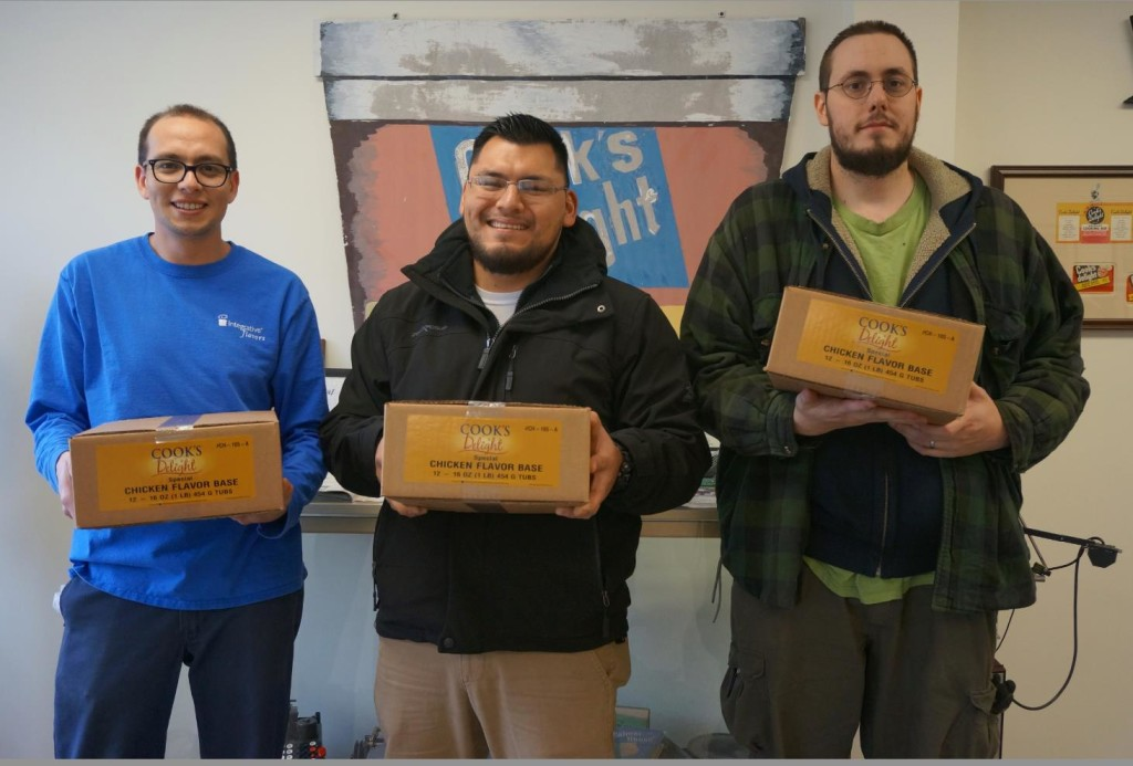 Donating Cook's Delight® soup base to the Salvation Army of Michigan City with Fermin Medina, Integrative Flavors Plant Manager