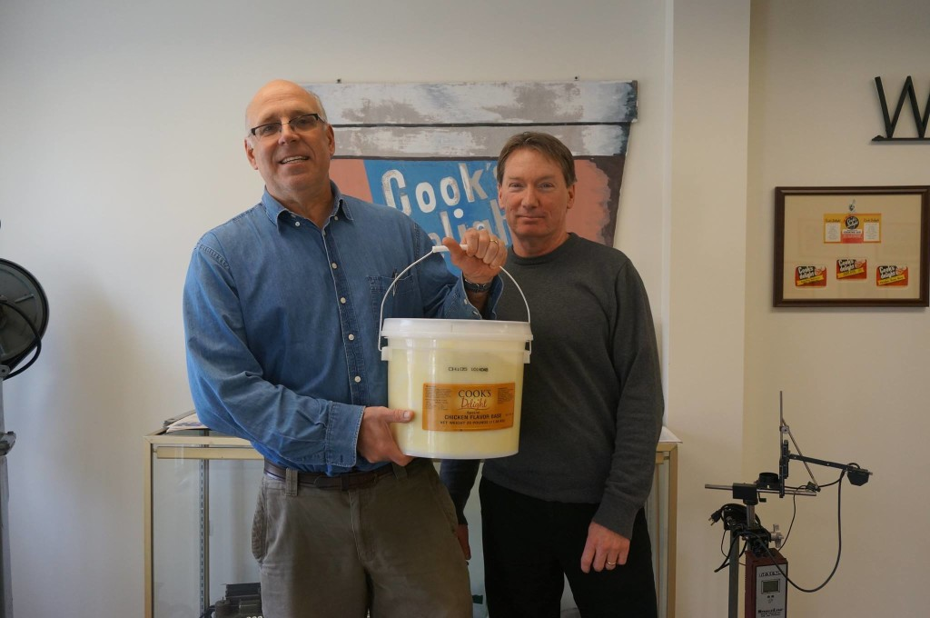 Brian Quealy, Executive Vice President of Integrative Flavors, donates Cook's Delight® Chicken soup base to Dave Horn of First Presbyterian Church Soup Kitchen 2014