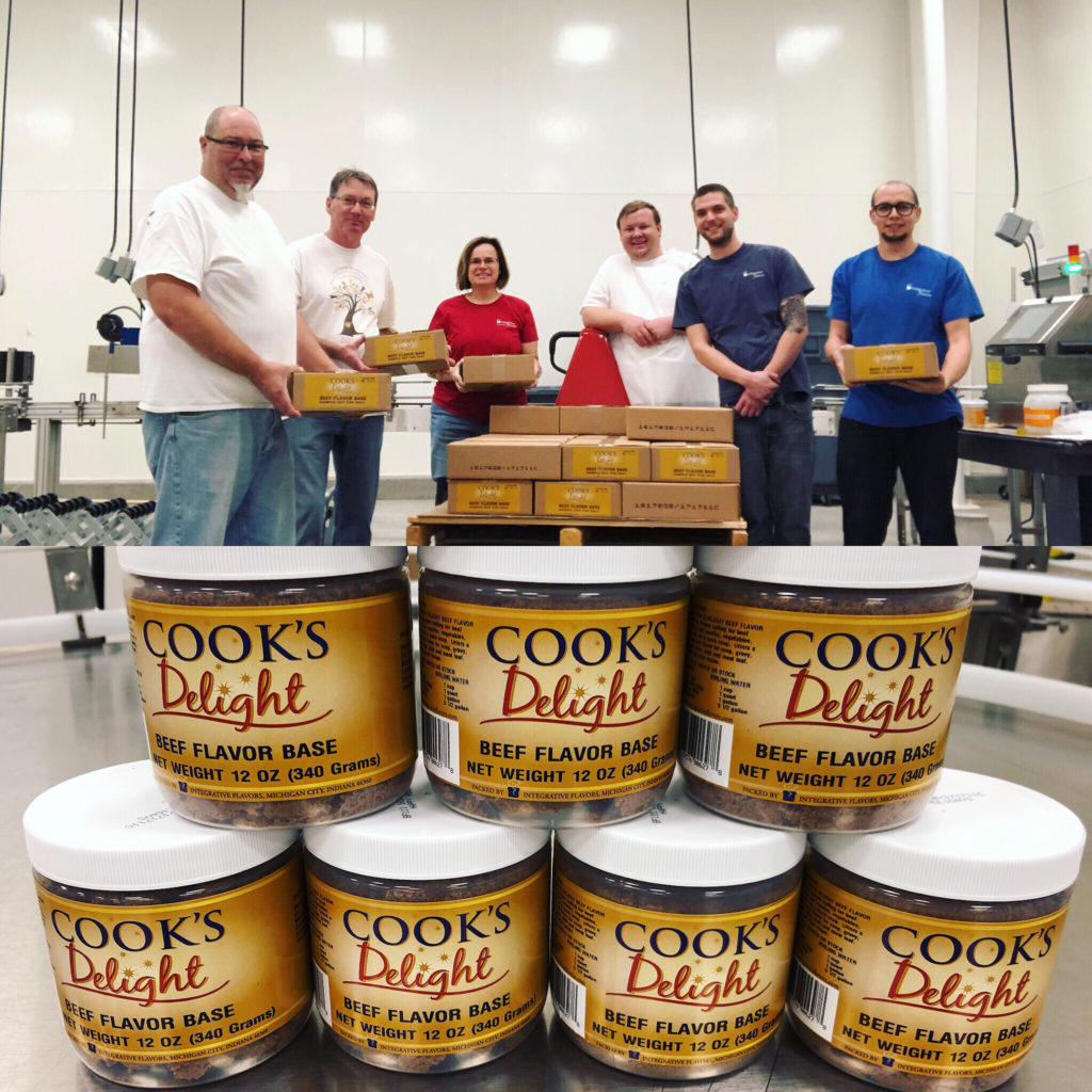 Give Back Day at Integrative Flavors. Packing Cook's Delight Soup Base.